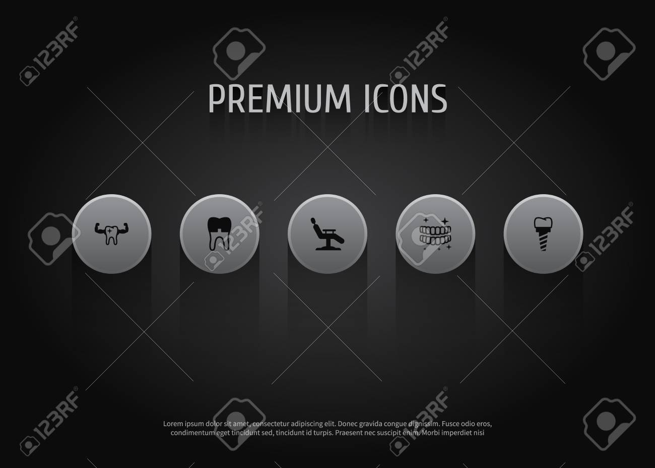 Set Of 5 Dentist Icons Set. Collection Of Alumina, Chair, Implant ...