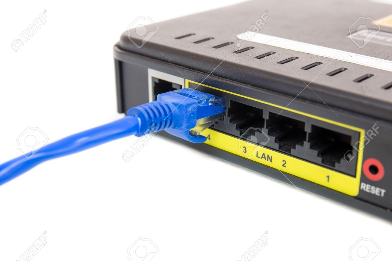 Close Up LAN UTP RJ45 Cat5e Connect To ADSL Router Network Switch ...