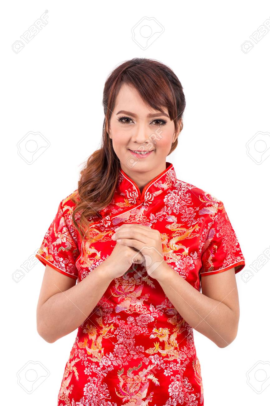 Asian chinese girl greeting in traditional chinese chinese stock asian chinese girl greeting in traditional chinese chinese new year stock photo 47425335 m4hsunfo