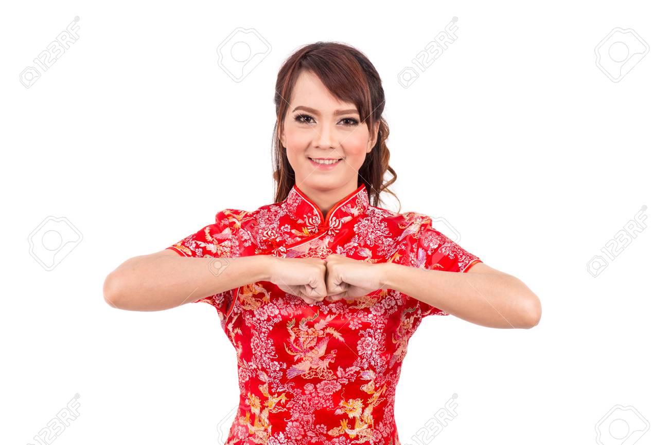 Asiatische Chinesische Mädchen-Gruß In Der Traditionellen ...