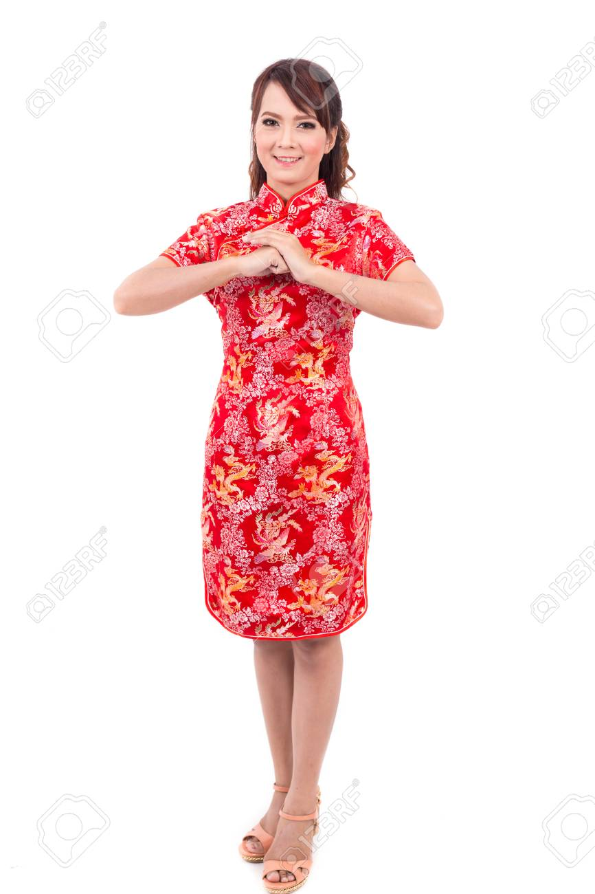 Asian chinese girl greeting in traditional chinese chinese stock asian chinese girl greeting in traditional chinese chinese new year stock photo 47425685 m4hsunfo
