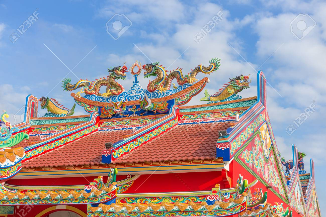 Dragon paint by oil color on public shrine roof, Thailand, Dragon