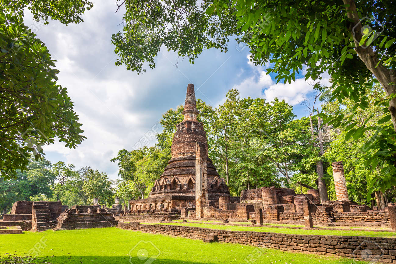 Landmark of old chedi made of ancient bricks in the Kamphaeng Phet Historical Park, Thailand. - 158307447