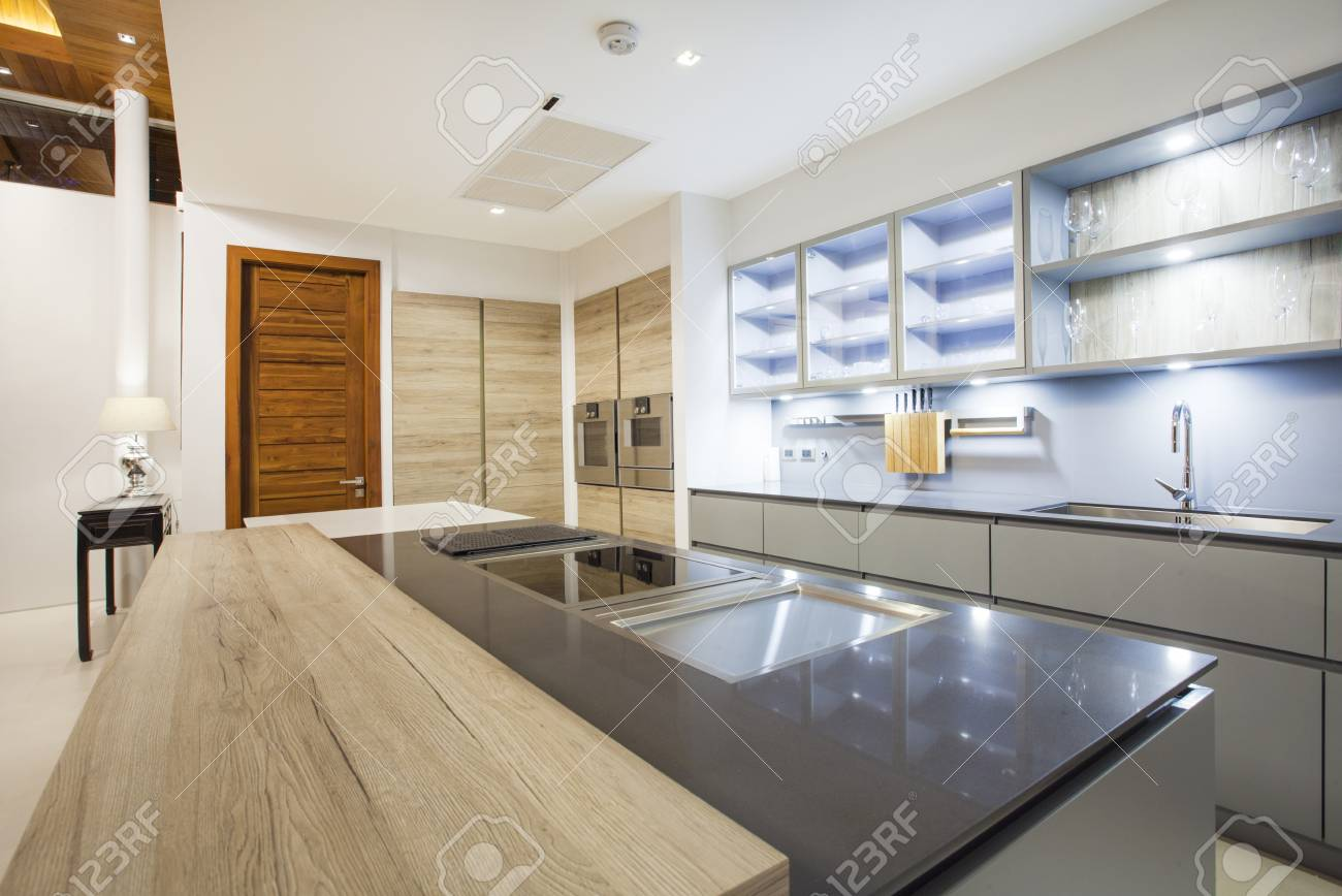 Luxury Interior Design Pool Villa In Kitchen Area Which Feature Stock Photo Picture And Royalty Free Image Image 81296787