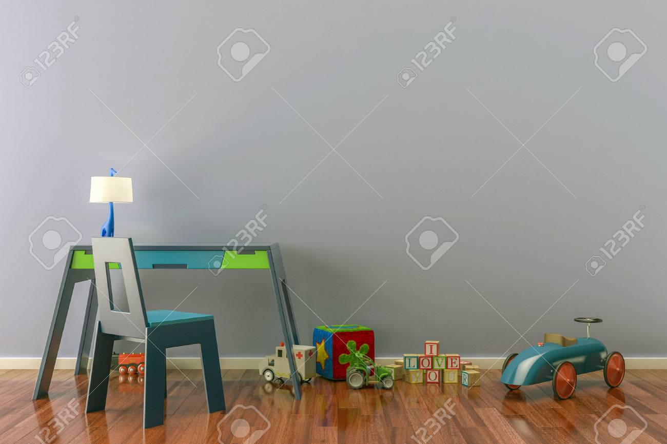 Empty Kids Room With Toys Work Desk And Chair 3D Illustration Stock