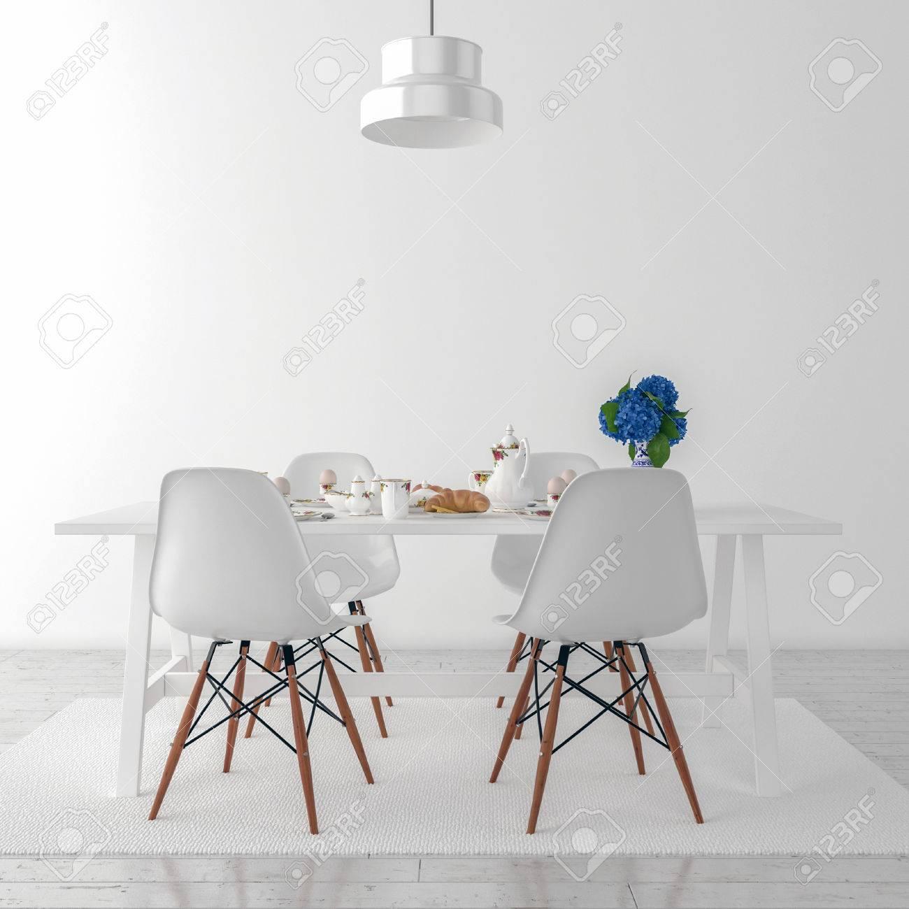 Küchentisch Und Stühle - 3D Abbildung Lizenzfreie Fotos, Bilder Und ...