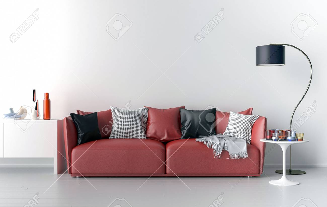 Living Room, Sofa, Lamp And Table. Big Blank Wall In Background ...