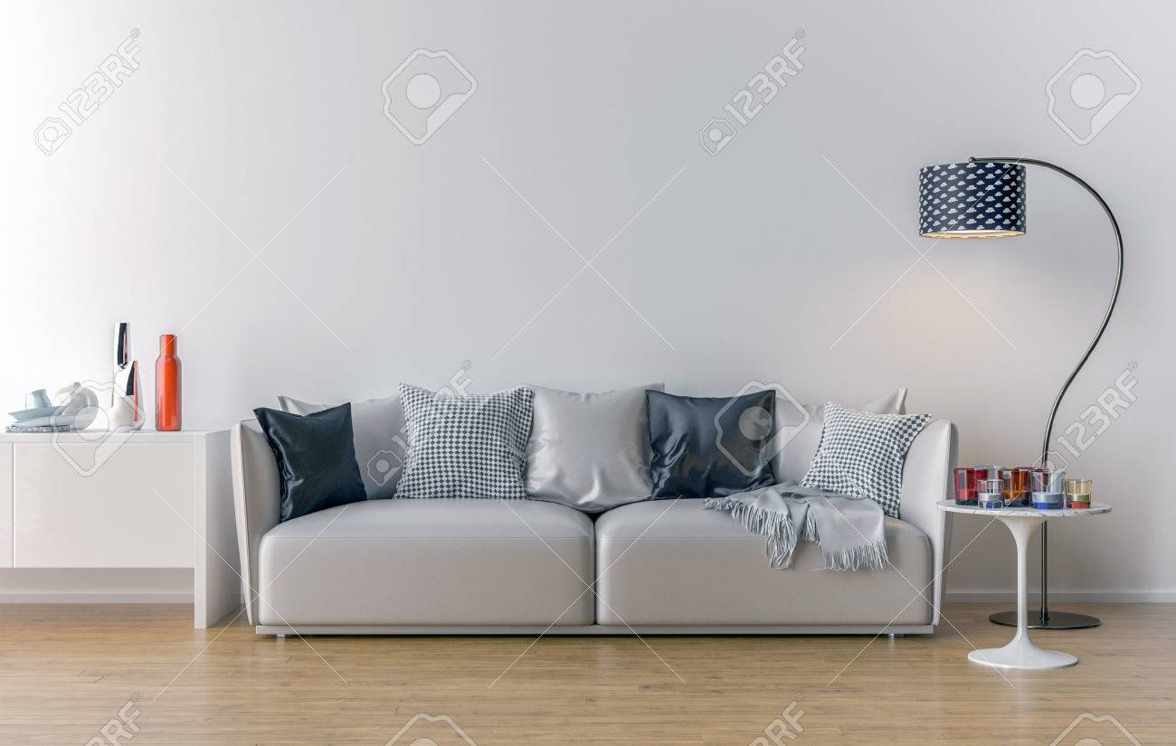 Empty Living Room With White Wall In The Background. 3D Illustration ...