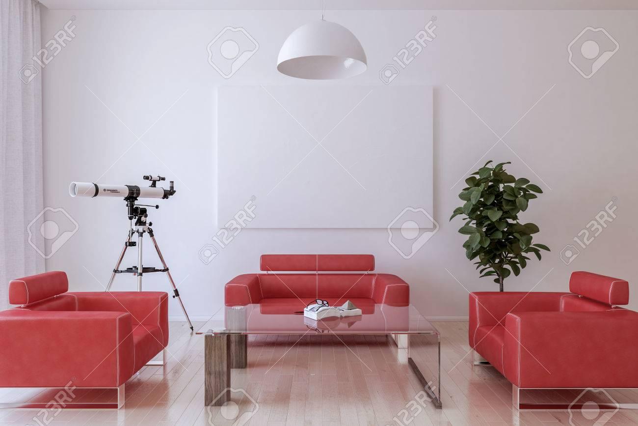 Weiße Leinwand An Der Wand Im Wohnzimmer. 3D Render, Platzieren Sie ...