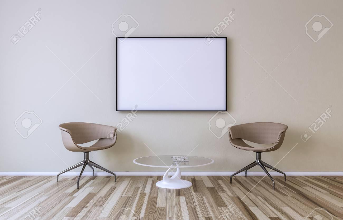 Leerer Bilderrahmen An Der Wand Im Wohnzimmer Stuhle Und Kleiner Tisch 3d Ubertragen Lizenzfreie Fotos Bilder Und Stock Fotografie Image 74115592