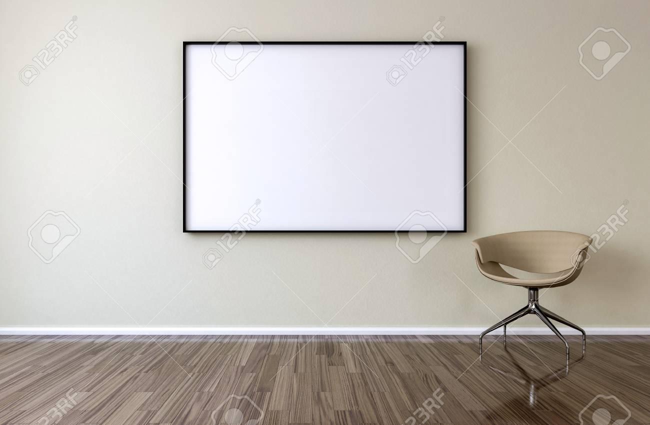 Leerer Bilderrahmen Auf Der Wand Im Wohnzimmer. Stuhl Im Leeren Raum ...