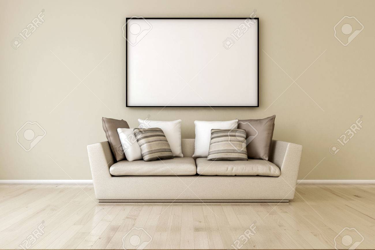 White Canvas On The Wall In The Living Room. 3d Render, Just.. Stock ...