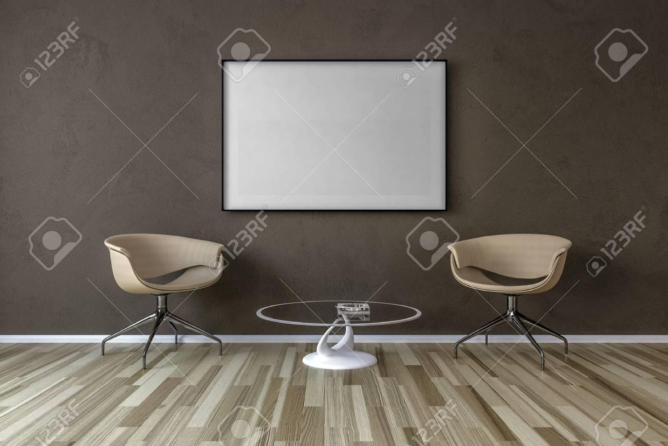 Leerer Bilderrahmen An Der Wand Im Wohnzimmer Stuhle Und Kleiner Tisch 3d Ubertragen Lizenzfreie Fotos Bilder Und Stock Fotografie Image 74115593