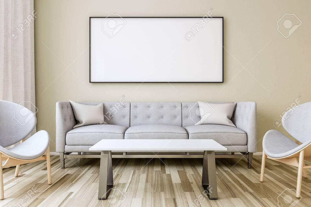 Leerer Bilderrahmen An Der Wand Im Wohnzimmer. Innenleuchte Mit ...