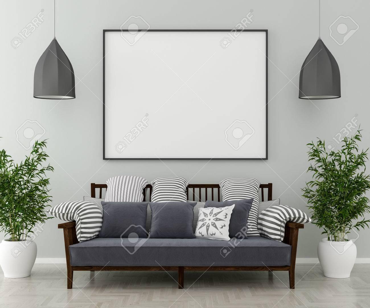 Piante Da Appartamento 3d.Immagini Stock Due Lampadari Un Divano E Piante Da Interno Sul