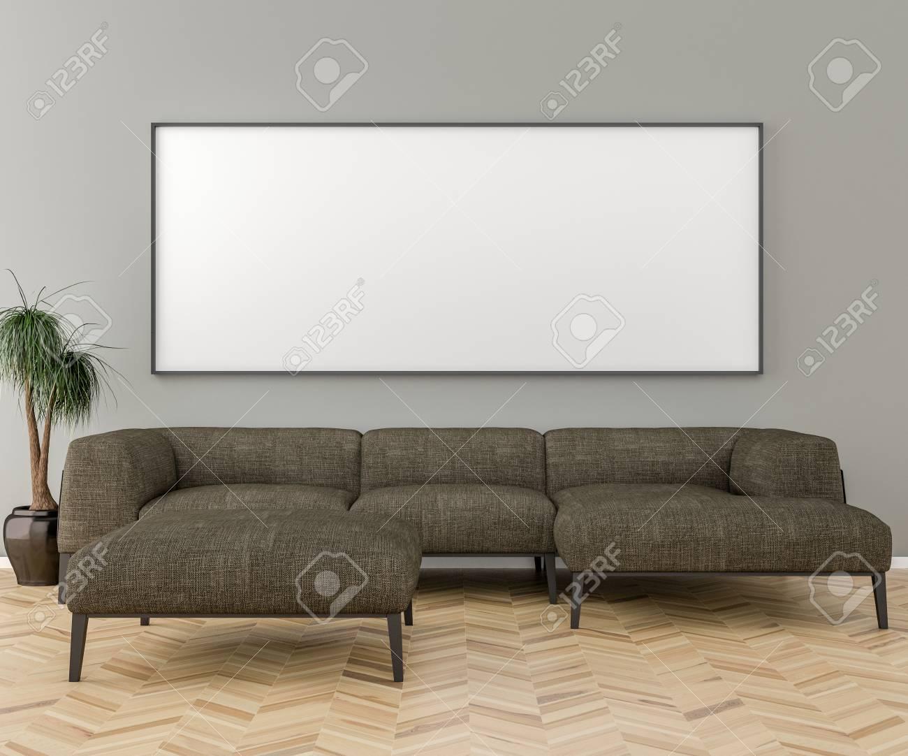 Blank Bilderrahmen An Der Wand Im Wohnzimmer. Inneneinrichtung Und Großes  Sofa. 3D übertragen Standard