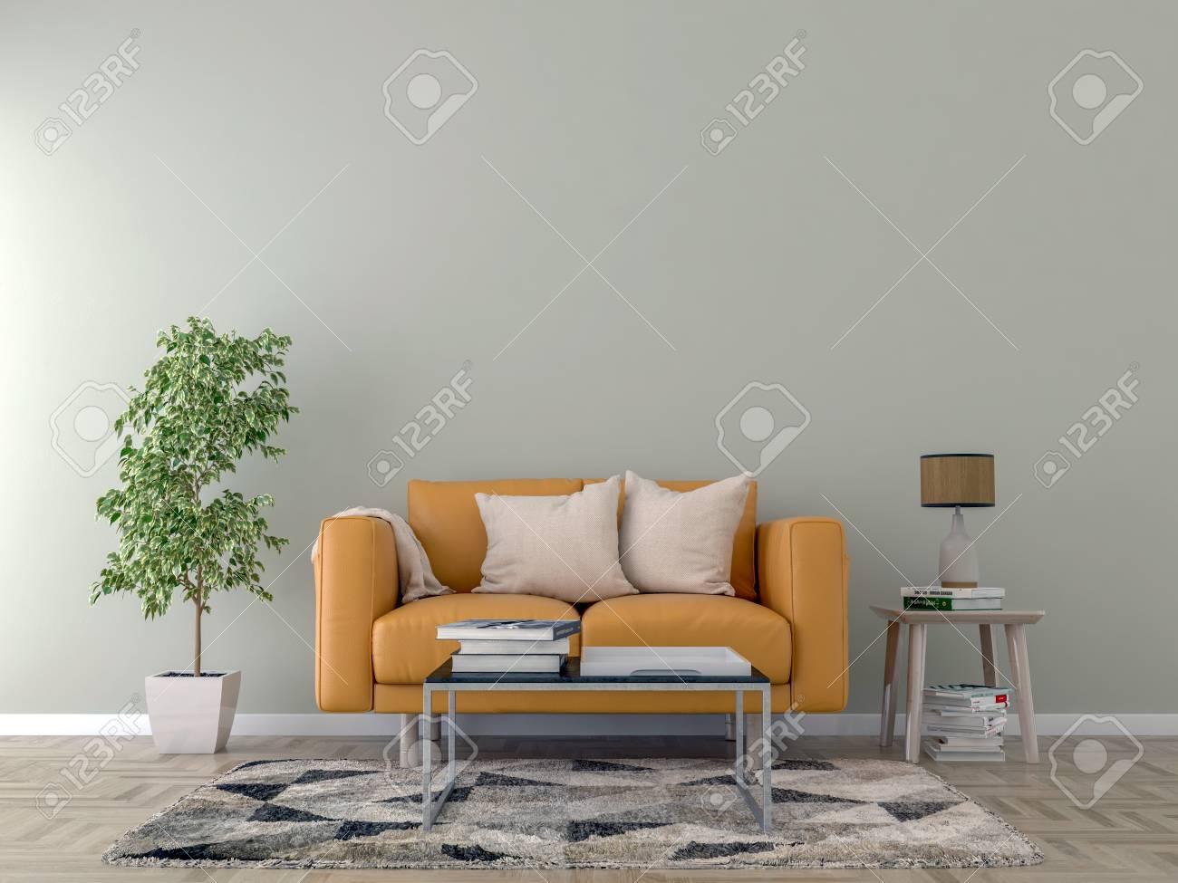 Living room interior with orange sofa, pillows, white plaid and..