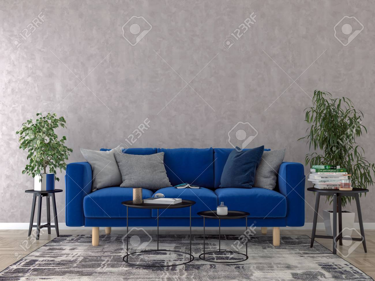 Picture of: Living Room Interior With Blue Sofa Pillows And Coffee Table Stock Photo Picture And Royalty Free Image Image 102831929