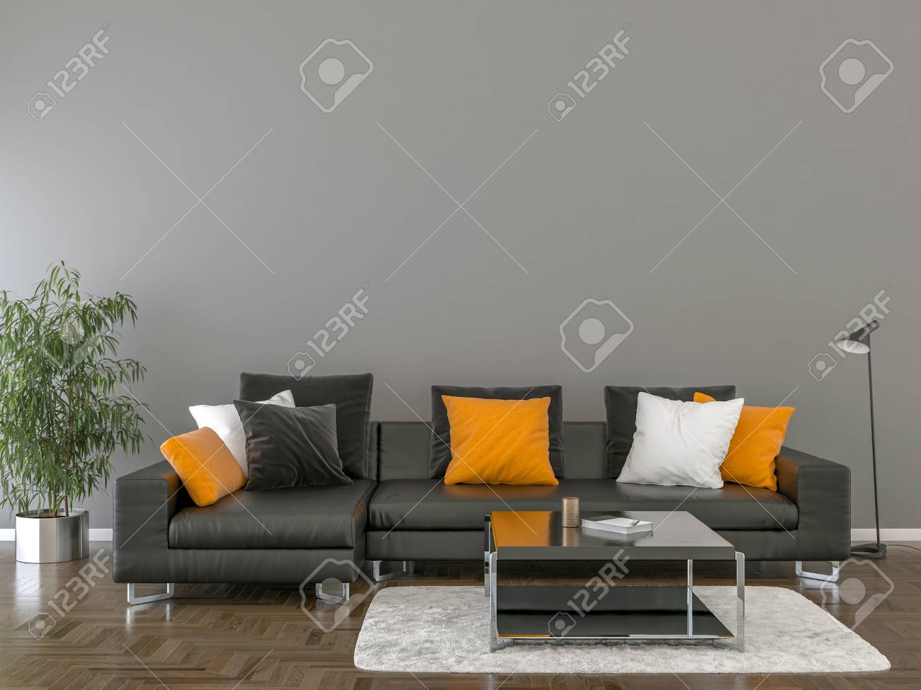 Living room interior with black sofa, pillows and coffee table..