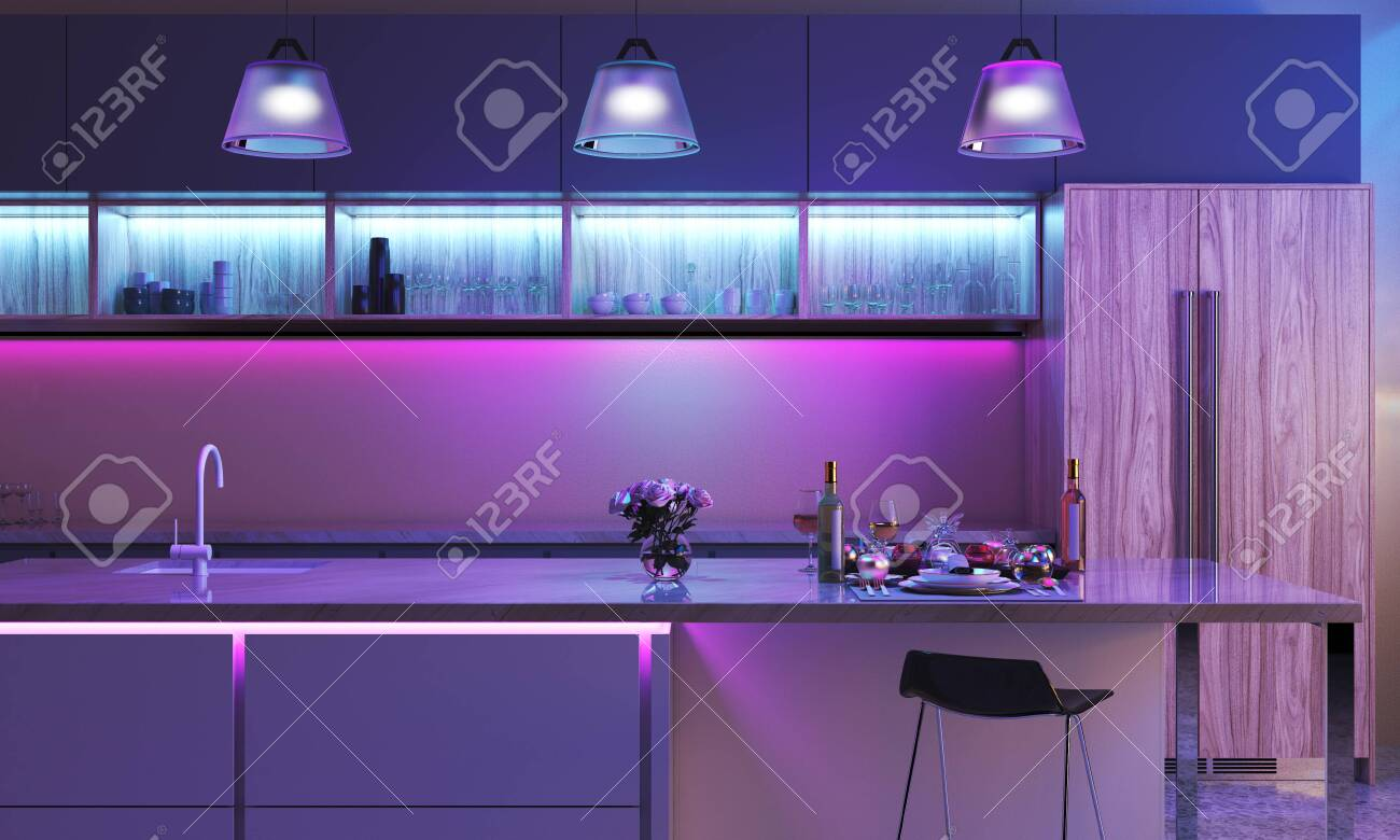 Modern Kitchen With Colored Led Lights Light Strip In Blue Color Stock Photo Picture And Royalty Free Image Image 132031320