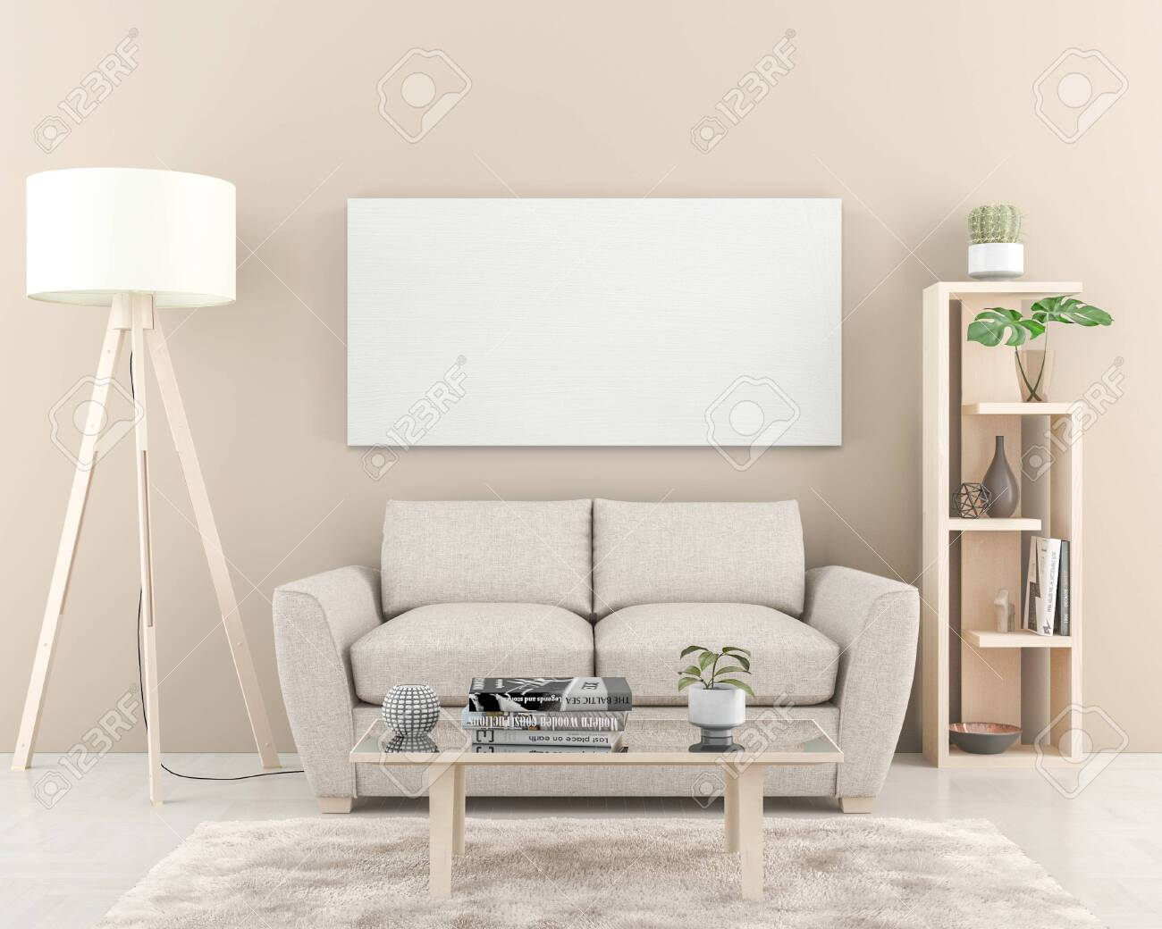 Interior wall with one big blank Canvas 180 x 90 cm. 3D render - 137399952