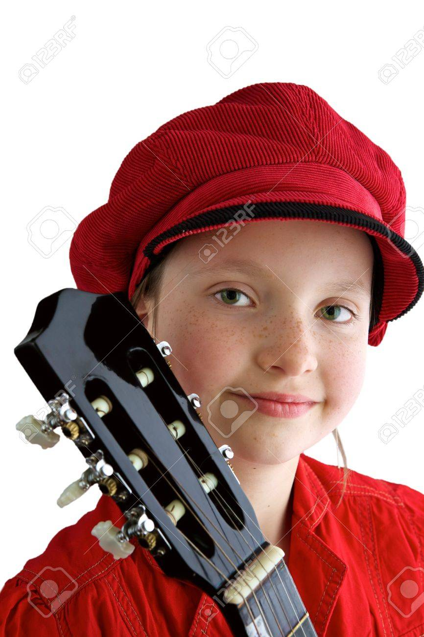 Little girl with red hat and guitar Stock Photo - 7488134
