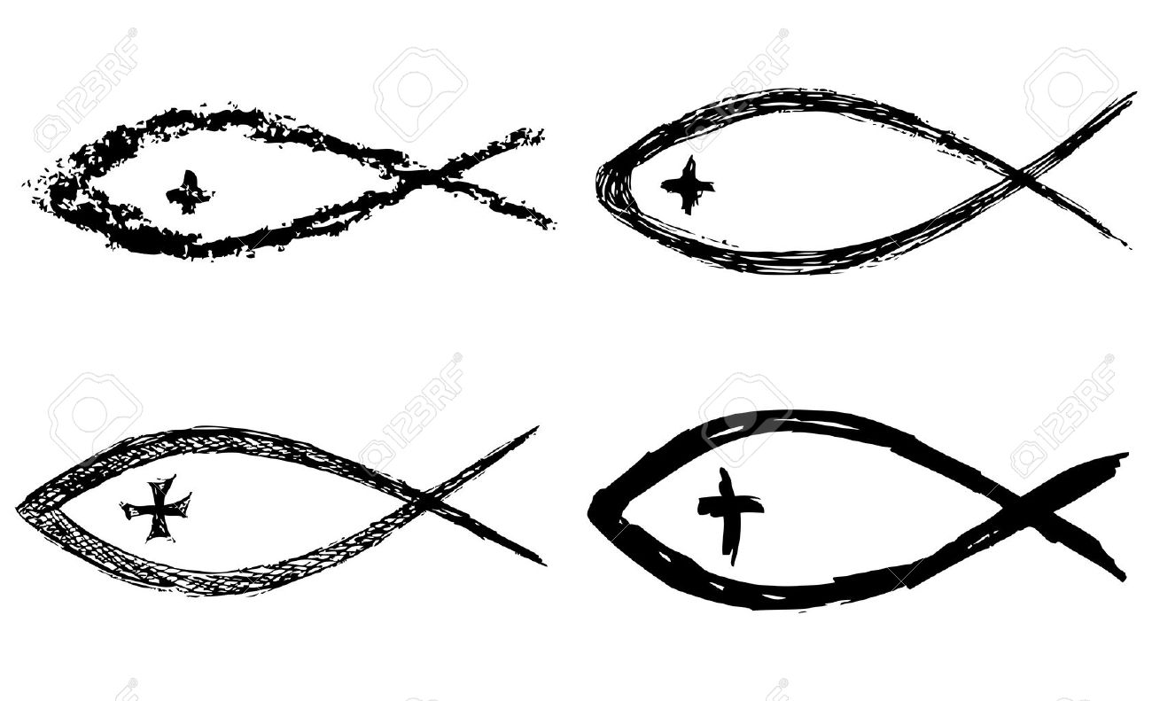 Christian Fish Symbol With Cross Vector Royalty Free Cliparts