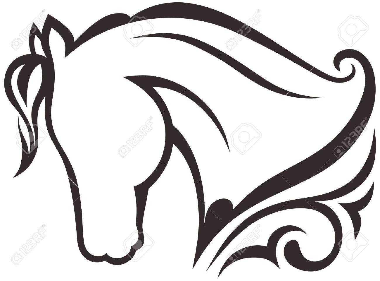 Silhouette black horse Stock Vector - 15802535