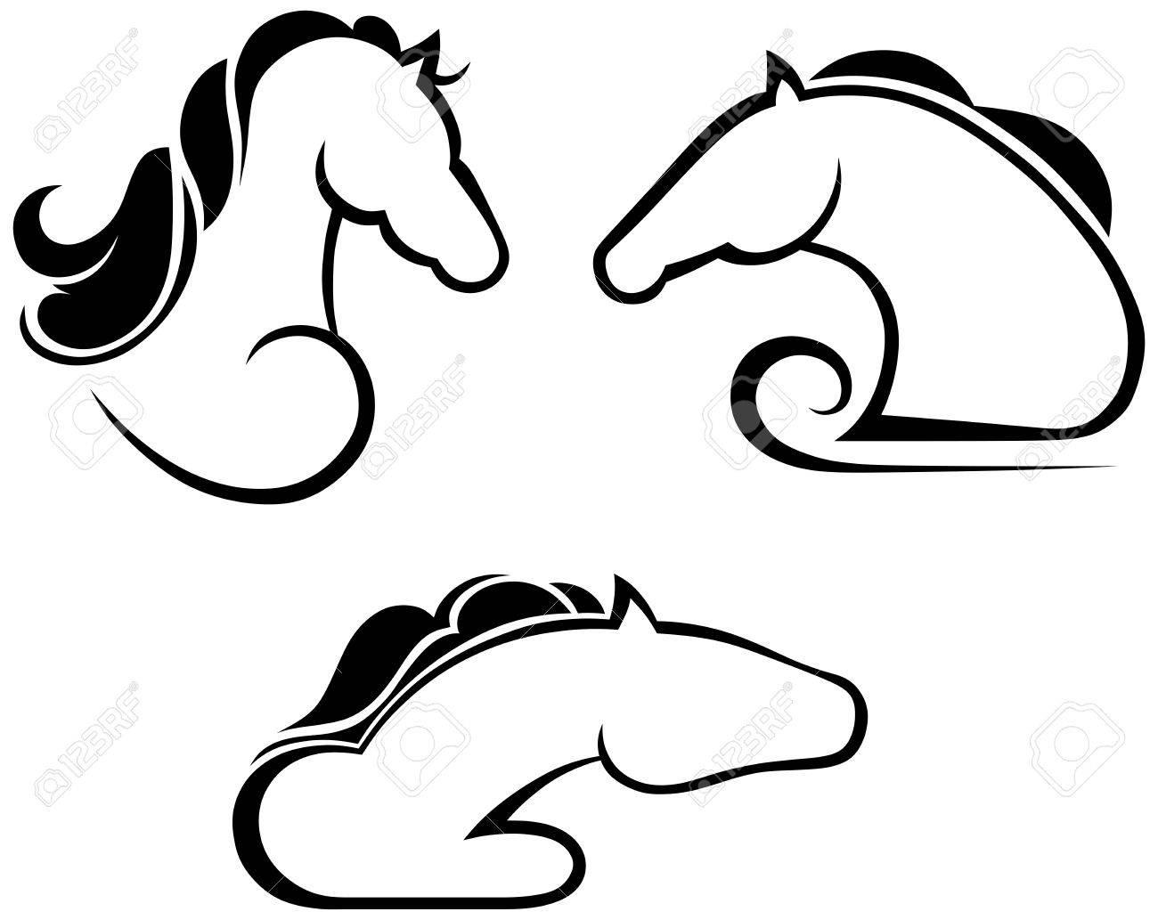Silhouette black horse Stock Vector - 15802547