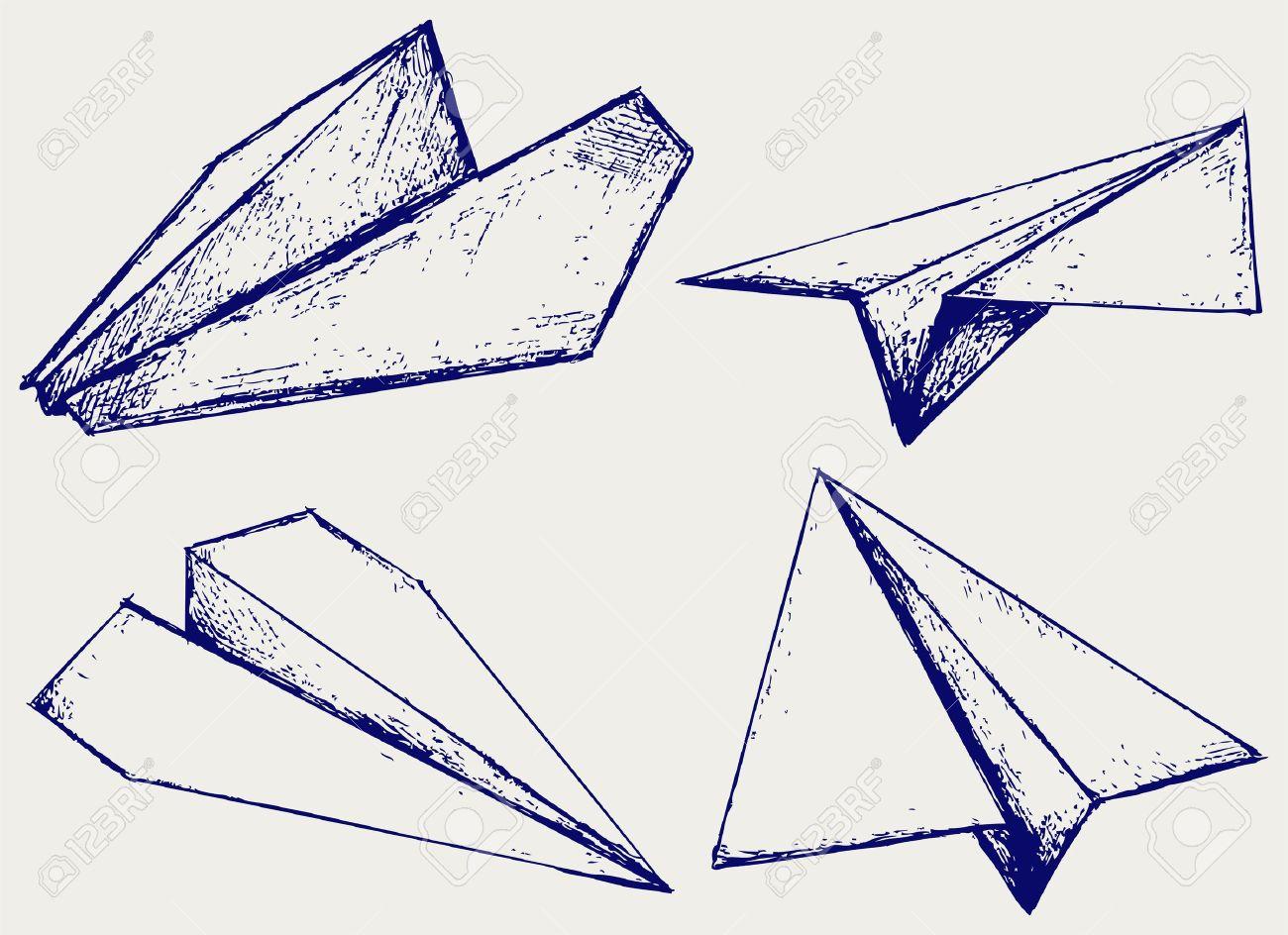 Paper planes. Sketch Stock Vector - 15832092