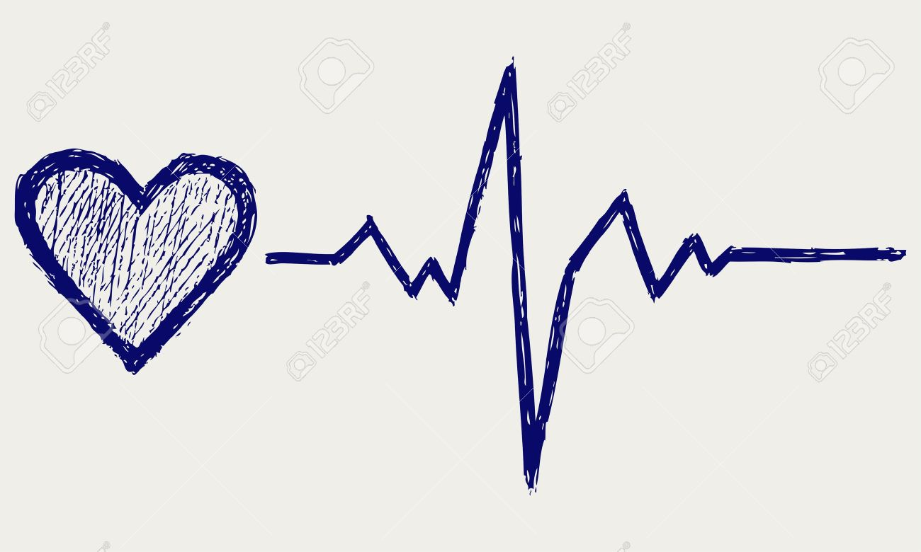 Heart And Heartbeat Symbol Sketch Royalty Free Cliparts Vectors And Stock Illustration Image 15831670