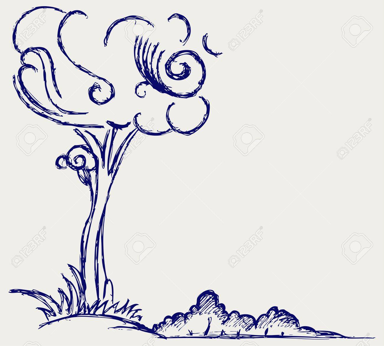 Trees silhouettes  Doodle style Stock Vector - 15868970