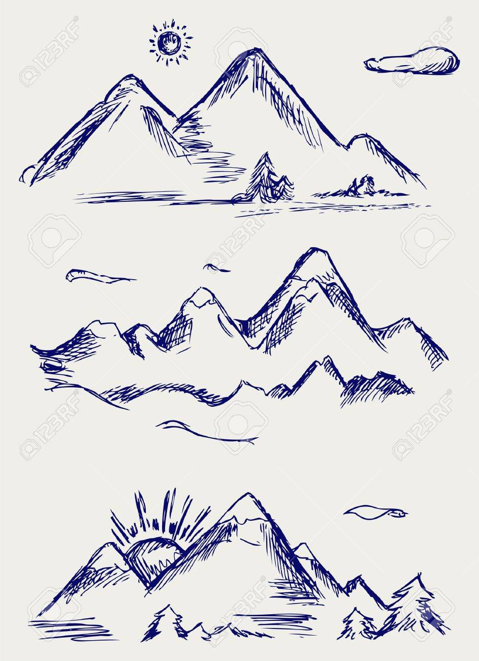 Various high mountain peaks. Doodle style Stock Vector - 15869055