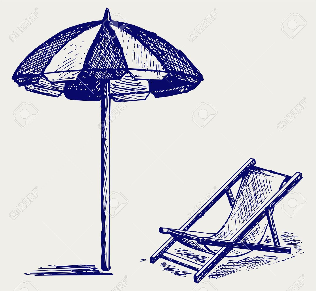 Beach chair drawing - Folding Beach Chair Chair And Beach Umbrella Doodle Style
