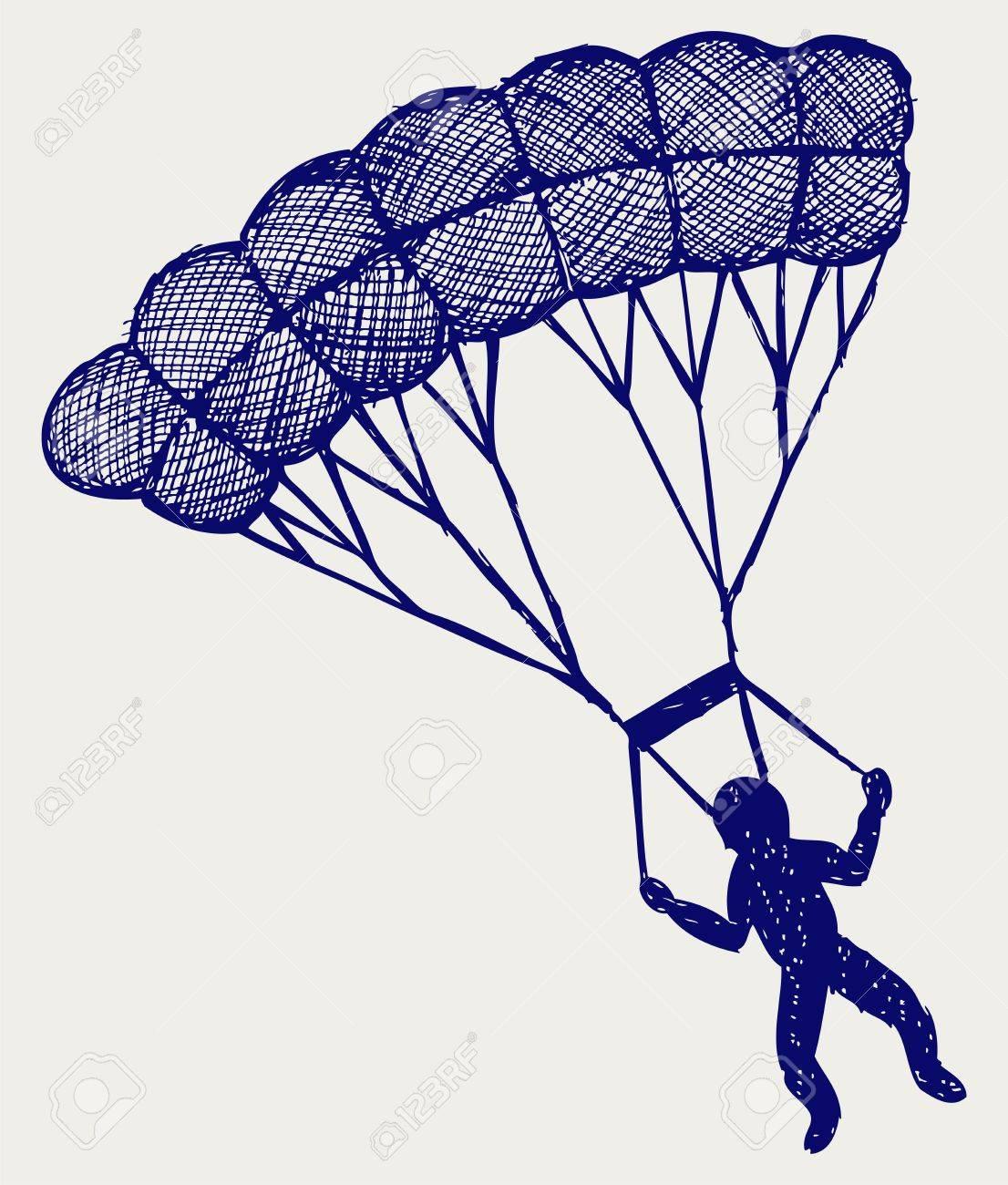 El Hombre Que Salta Con Paracaídas Estilo Doodle Ilustraciones ...