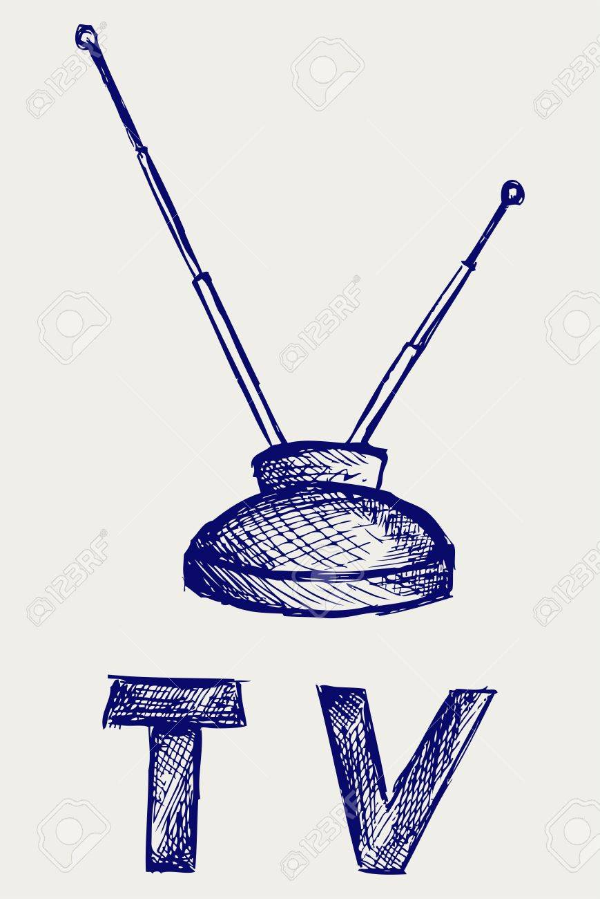 Seen on TV icon. Doodle style Stock Vector - 16906337