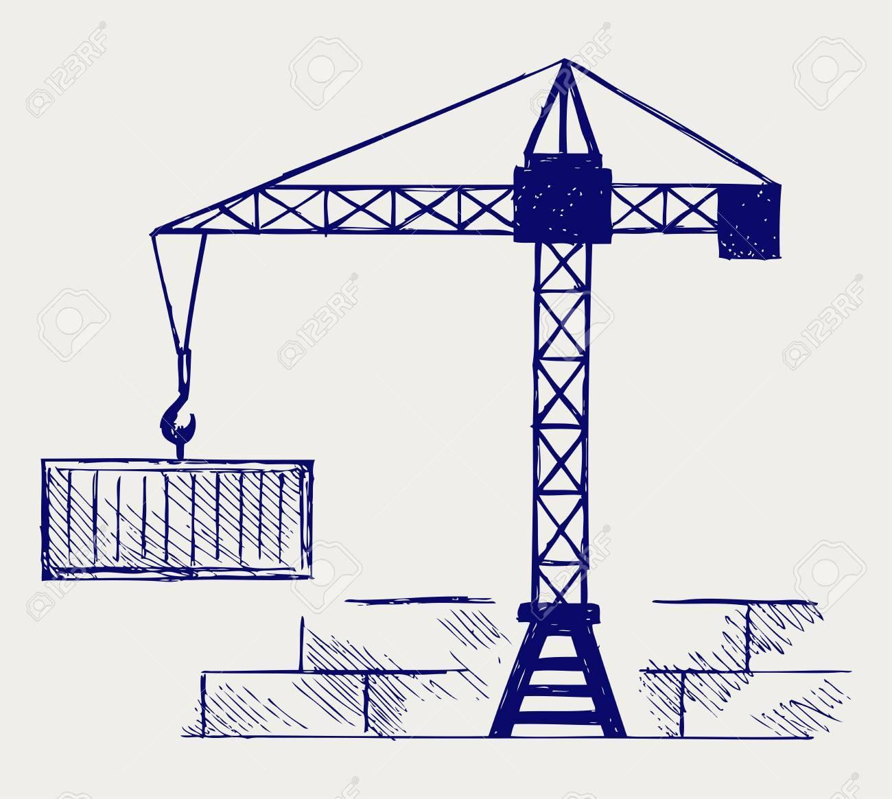 Crane working  Doodle style Stock Vector - 16907876