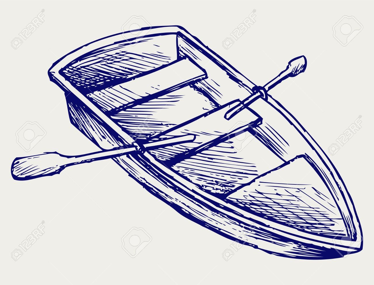 Wooden boat with paddles. Doodle style Stock Vector - 16907875