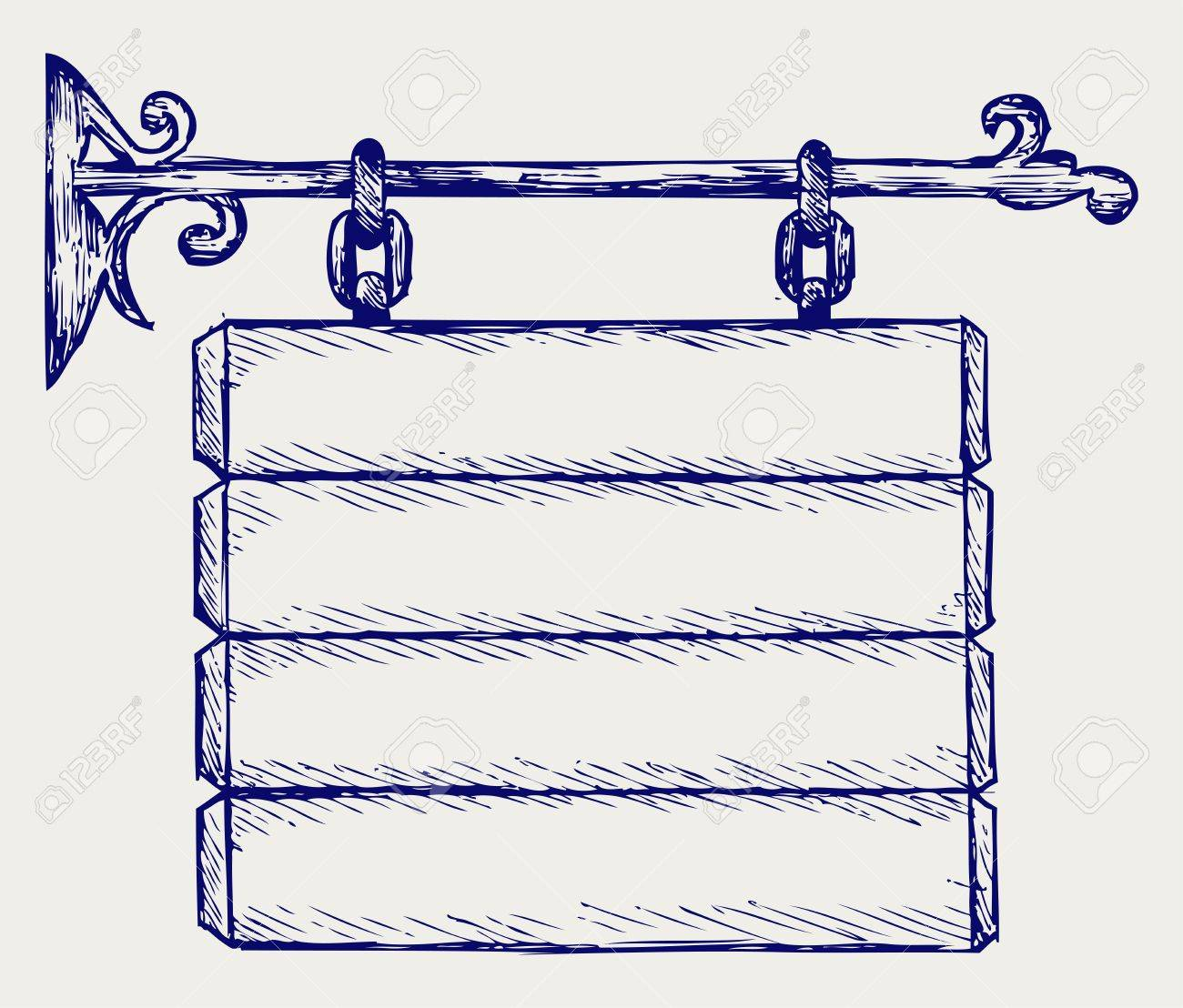 Wooden sign. Doodle style Stock Vector - 16907889