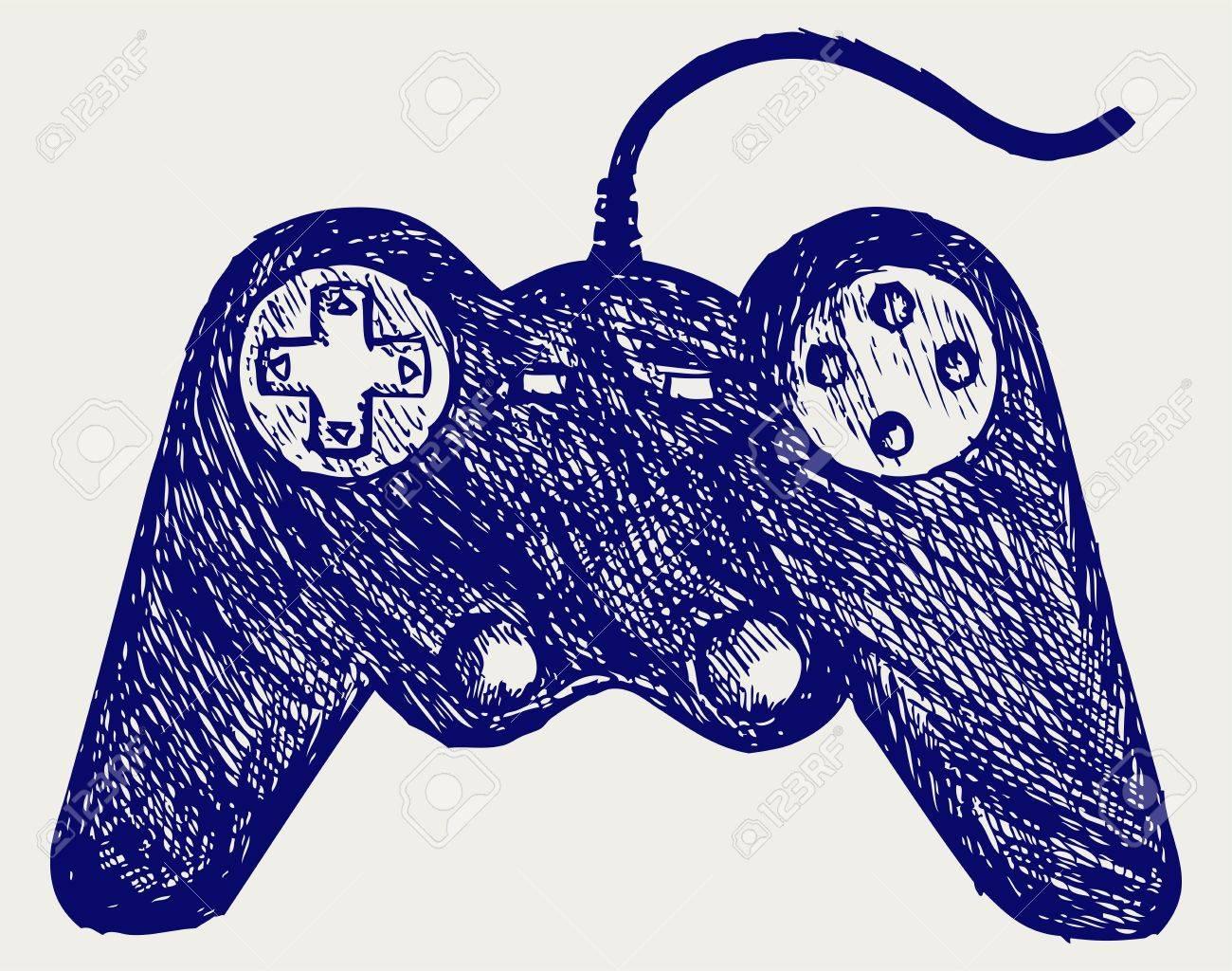 Gamepad joystick game controller. Doodle style Stock Vector - 16907904