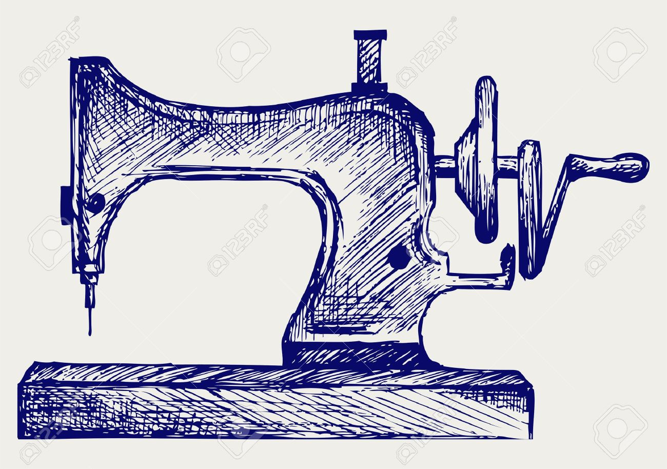 Old sewing machine. Doodle style Stock Vector - 16908515
