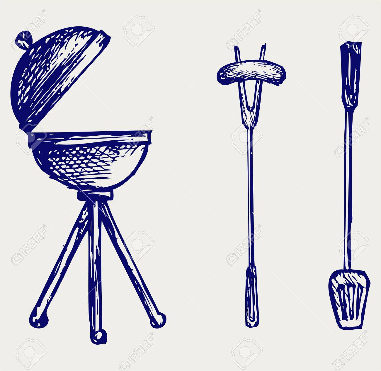 Set of bbq objects. Doodle style Stock Vector - 17057345