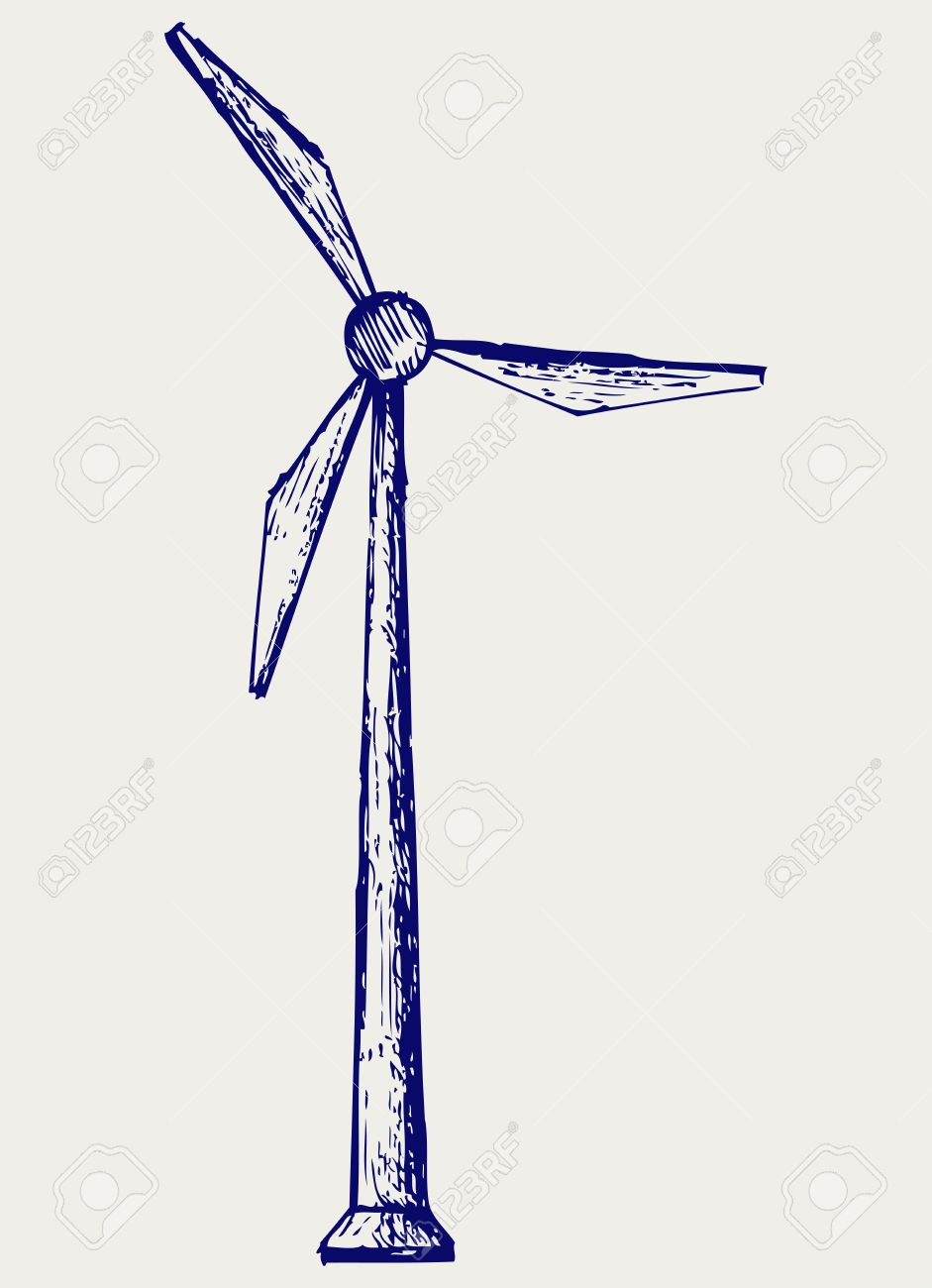 Windmill. Doodle style Stock Vector - 17057348