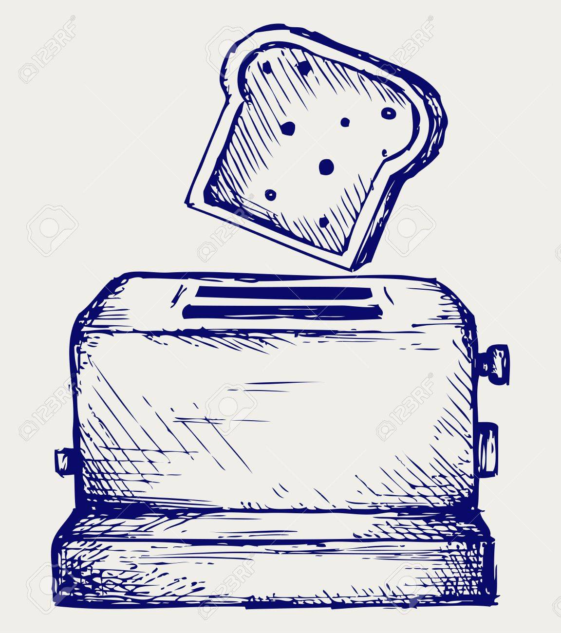 Toast popping out of a toaster  Doodle style Stock Vector - 17260574