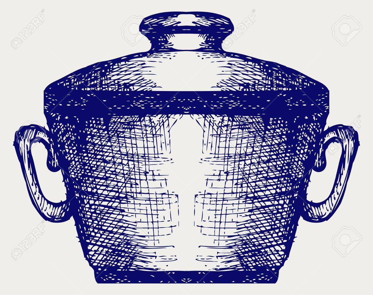 Steel pot. Doodle style Stock Vector - 17260607
