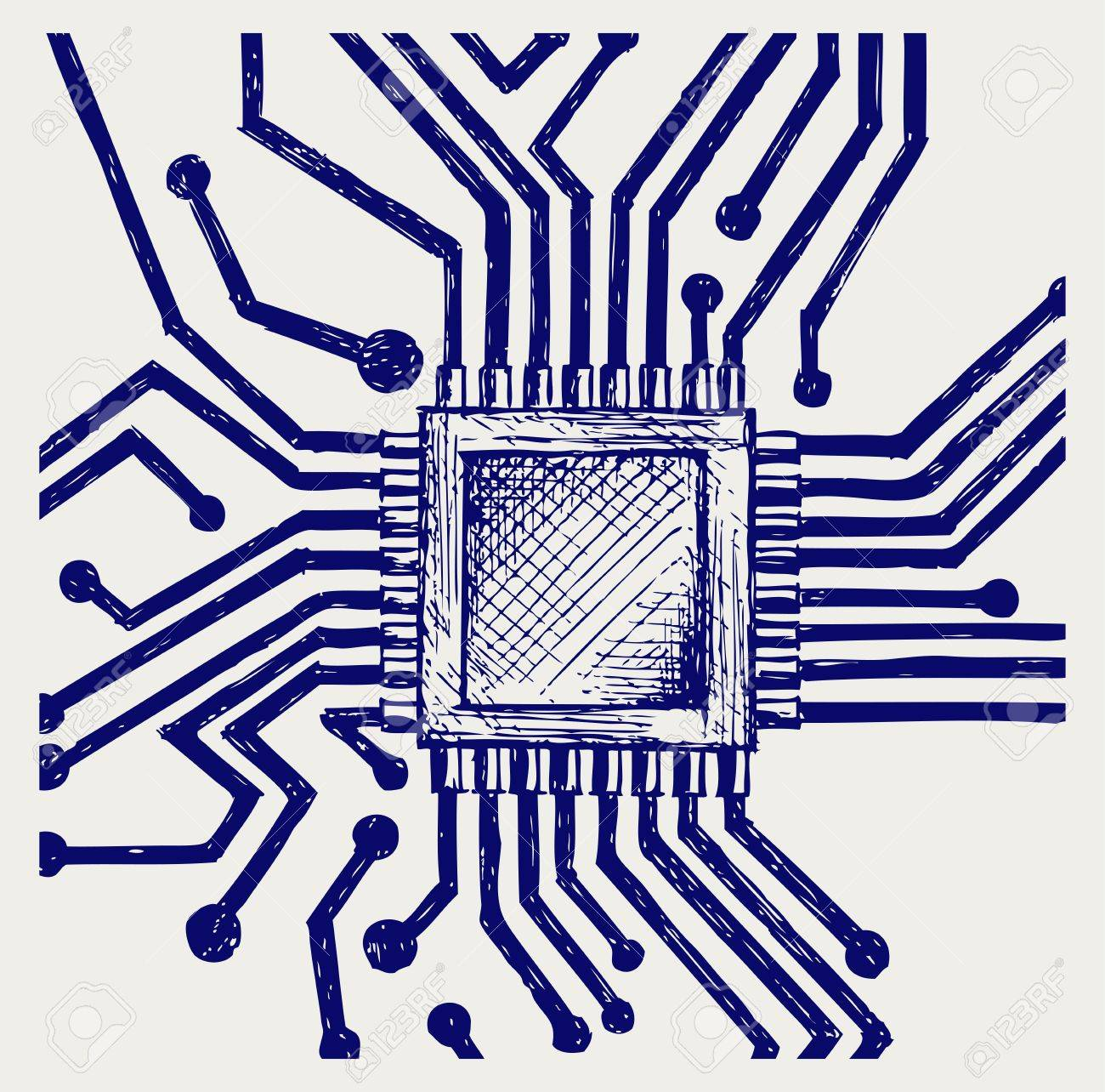 Motherboard with microchip. Doodle style Stock Vector - 17333613