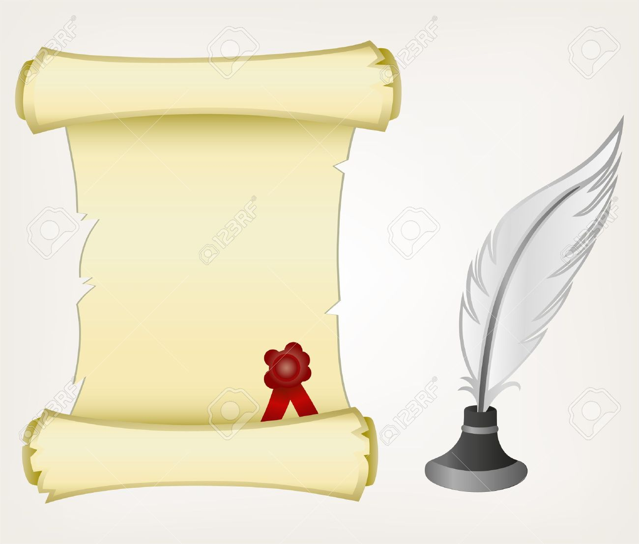 Parchment scroll and feather. Style vector Stock Vector - 17823316