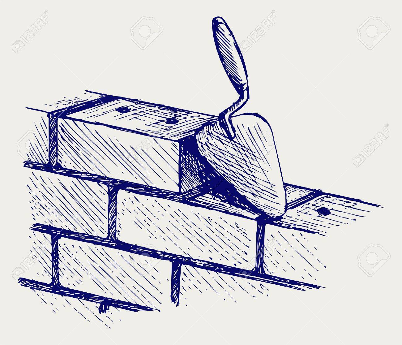 Trowel and bricks. Doodle style Stock Vector - 17823362
