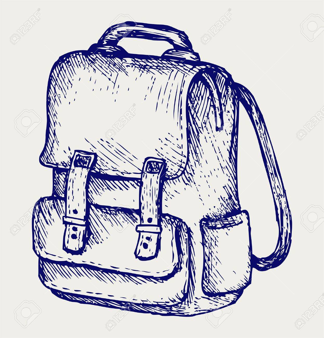 School backpack. Doodle style Stock Vector - 17823360