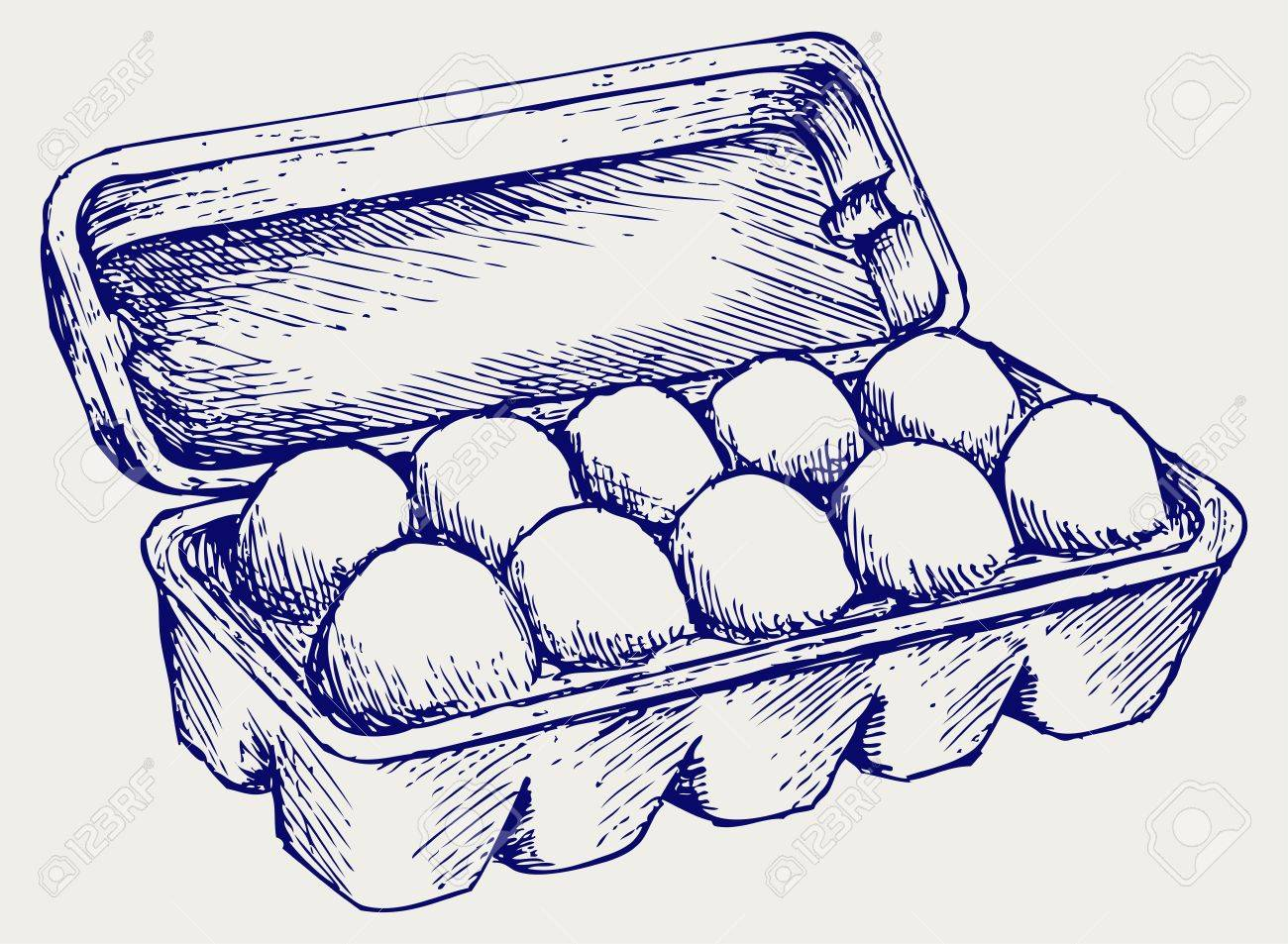 Eggs in a carton package. Doodle style Stock Vector - 17823366